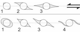 Different models of evolution of isometric porphyroclasts during sinistral shear (according to Passhier and Simpson, 1986). Up: Gradual evolution from sigma (1, 2) to phi clast (3). Down: Gradual evolution of delta clast (4) from initial theta (1) and sigma clasts (2, 3) during higher degree of rotation of clast.